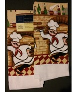 FAT CHEF theme KITCHEN TOWELS Set of 2 Pizza Cook Red Check Wine NEW - $9.49