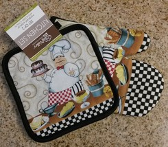 FAT CHEF OVEN MITT SET 2-piece Desserts Cake Black Check NEW - $6.99