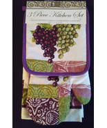 PURPLE GRAPES KITCHEN SET 3-pc Potholder Oven Mitt Towel Wine Grape Vine... - $15.99