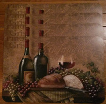 Wine Placemat 4-pc Set Zinfandel Pinot Gris grapes wine glass Plastic NEW - $14.99