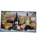 WINE THEME KITCHEN MAT Rug Cheese Fruit Vineyard Blue trim 18x30 NEW - $14.95