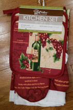Wine theme Kitchen Set 5-pc Towels Pot Holders Oven Mitt Red Wine Grape NEW - $14.99