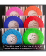 Wine Coasters Set Of 2 Stem Gemz Glass Drink Markers Protectors Silicone... - $3.99