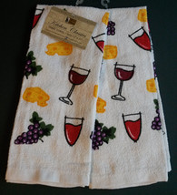 WINE theme KITCHEN TOWELS Set of 2 Grapes Wine Glass Terry Cloth NEW - $6.99