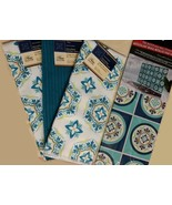 MEDITERRANEAN BLUE KITCHEN SET Towels Backsplash Decal Spanish Tile look... - $11.99