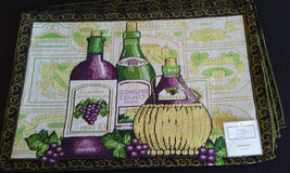 WINE TAPESTRY PLACEMATS Set of 4 Sonoma Vineyard Purple Green Fabric 13x... - $14.99