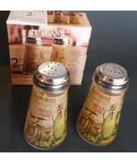 TUSCAN Decor SALT PEPPER SHAKERS Glass Olive Oil Mediterranean NEW - $11.99
