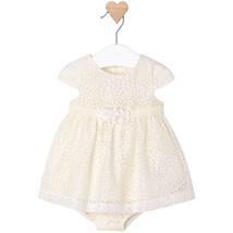 Mayoral Baby Girl 0M-12M Linen-Ivory Burnout-Petal Devore Dress