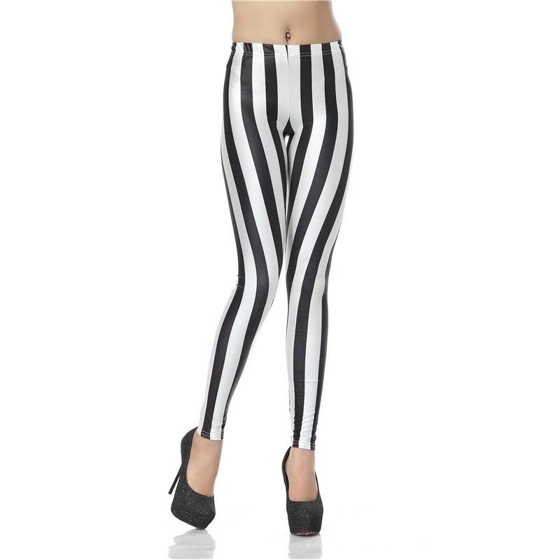 Black and White Stripes Beetlejuice Women's Leggings Yoga Workout Capri Pants