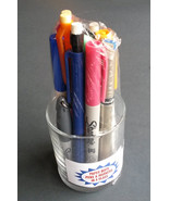 GLASS PENCIL HOLDER LOT with 12 assorted PENS MARKERS Office Desk Contai... - $5.99