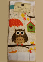 OWL design DISH TOWELS Set of 2 Bird with Umbrella Brown Orange NEW - $5.99