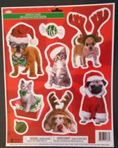CHRISTMAS DOG CAT WINDOW CLINGS 8-ct Kitten Puppy Pug Bulldog Pet NEW - $5.99