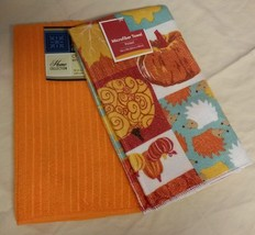 HARVEST ANIMALS TOWEL SET of 2 Orange Pumpkin Owl Fox Fall Decor NEW - $5.99