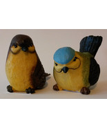 "NEW Pair of Fat Bird Figurines, Resin, 3"" tall, Indoors / Outdoors Statu... - $9.99"