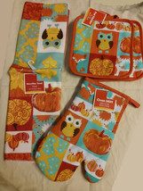 Kitchen Potholders Mitt Towel Set 4-pc Harvest Owl Design New - $12.99