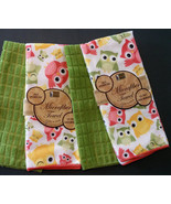 OWL KITCHEN TOWELS Set of 4 Microfiber Colorful Owls Green Bird NEW - $9.99