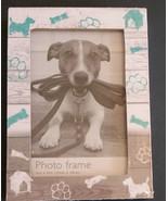 DOG theme PHOTO FRAME Picture Paw Prints Bones Puppy Wood 4x6 NEW - $11.95