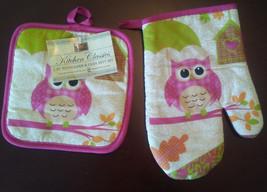 Owl Oven Mitt and Potholder 2-pc Set Pink Bird Umbrella Heart Birdhouse NEW image 1