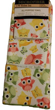 OWL theme KITCHEN LINENS SET 3-pc Drying Mat Towel Cloth Spring Green Owls NEW