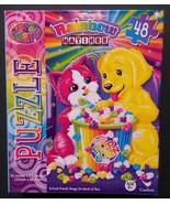 "Lisa Frank JIGSAW PUZZLE Dog Cat eating Popcorn ""Rainbow Matinee"" 48-pc NEW - $4.99"