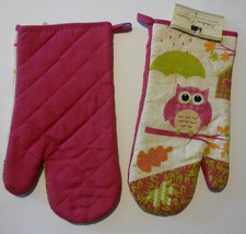 OWL OVEN MITT SET 2-pc Pink Bird with Umbrella NEW - $8.99
