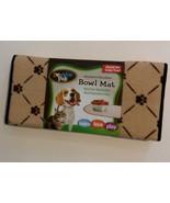 "PET BOWL MAT Dog Cat Small Floor Rug Pawprints Oval Beige 20"" NEW - $8.99"