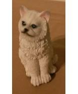 "White Grumpy Cat Figurine blue eyes Kitten animal pet statue 4"" NEW - $8.99"