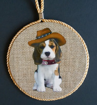 DOG Theme WALL PLAQUE Beagle Puppy with Hat Mat Hot Plate Trivet Spoon R... - $12.99