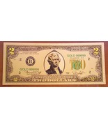5 PACK of 24K .999 Pure Gold Colorized $2 Dollar Bill Bank Note - BU Con... - $9.99