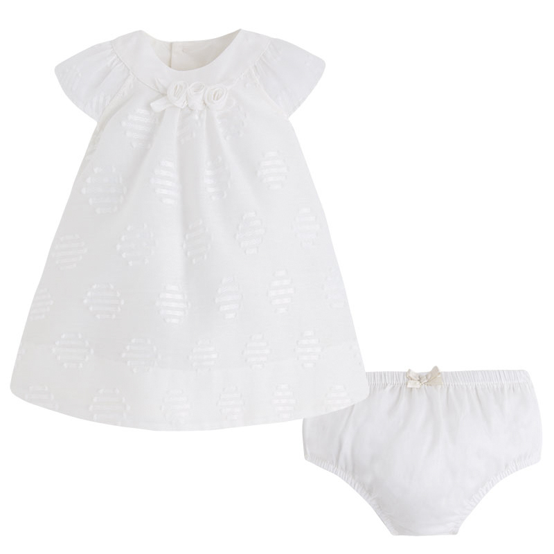 Mayoral Baby Girl 0M-12M Natural-Ivory Embroidered Dot Dress