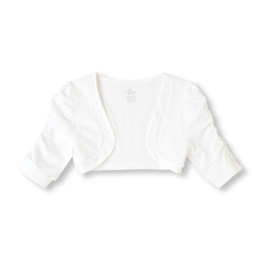 Primary image for NWT childrens place ruffle crop jacket shrug cardigan top 5 6 7 8 white pink blu