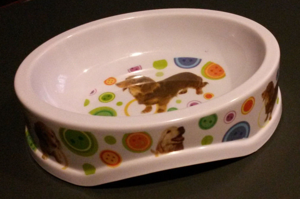"Primary image for DOG FOOD BOWL Plastic 8.5"" Oval Dachshund Golden Retriever NEW"