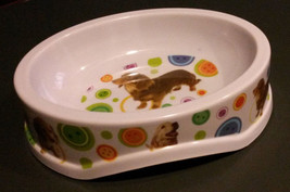 "DOG FOOD BOWL Plastic 8.5"" Oval Dachshund Golden Retriever NEW - $9.99"