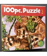 """RACCOON JIGSAW PUZZLE """"What's Up"""" Karmin 100-pc Made in USA NEW - $4.49"""