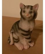 """Tabby Cat Figurine Grey White Striped 4"""" NEW - $8.99"""