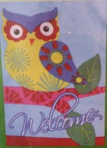 OWL WELCOME GARDEN FLAG Colorful Bird on Branch Small Garden Decor NEW - $5.99