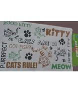 """Cat Food Mat, Plastic, 20""""x12"""", """"Meow, Kitty, Fishy"""" NEW - $6.99"""
