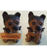 """BROWN DOG FIGURINE with removable Welcome Sign and Bone Puppy Resin 3.5""""... - $9.99"""