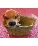 Beagle Dog Pot, Planter, Puppy in Basket - $9.99