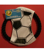 SOCCER THEME DOG TOY Rope Frisbee Throw Toss 7.5 inch NEW - $6.99