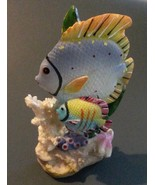 """TROPICAL FISH FIGURINE Coral Seaweed, Light Blue Yellow, Resin 4.5"""" NEW - $11.99"""