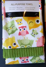 OWL theme KITCHEN TOWELS 3-pc Set Microfiber Colorful Spring Owls NEW - $12.99