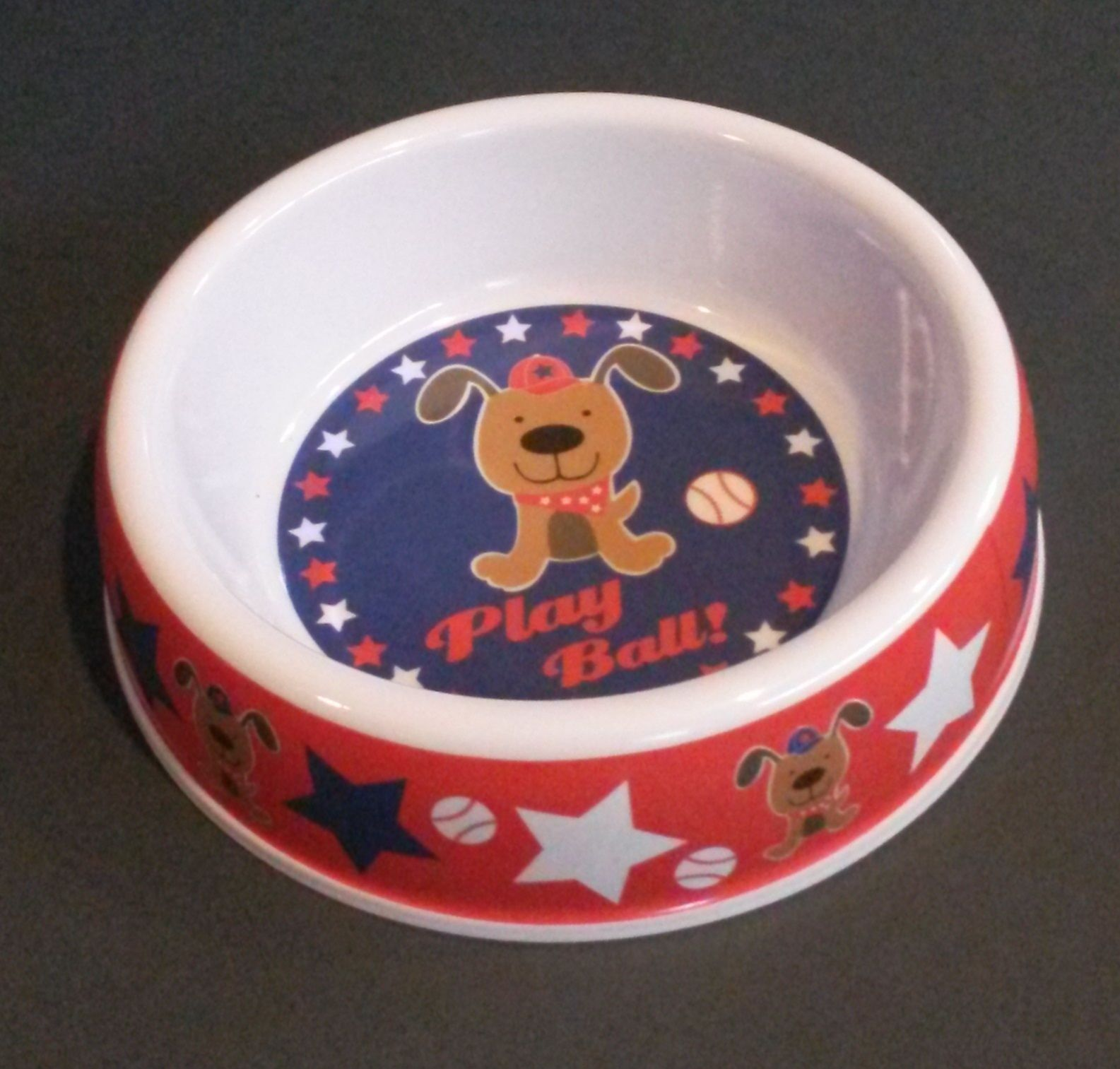 "Primary image for DOG BOWL Baseball Puppy Red White Blue Stars Plastic 7"" Pet NEW"