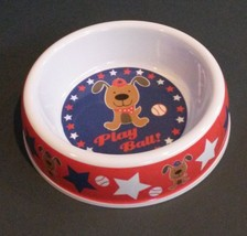 "DOG BOWL Baseball Puppy Red White Blue Stars Plastic 7"" Pet NEW - $9.99"