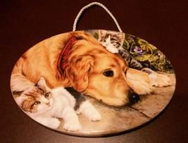 Dog Cat Art, Wall Hanging, Golden Retriever Kitten NEW - $9.99
