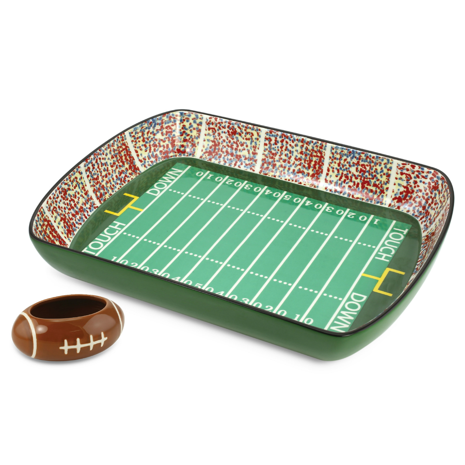 Ceramic Chip And Dip Dish Set Football Stadium Tray Party Snack Bowl