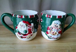 FITZ and FLOYD Gift Gallery 2 Mugs Santa and Mrs Claus Christmas Large - $19.99