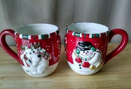 FITZ and FLOYD Gift Gallery 2 Mugs Reindeer and Snowman Christmas Large - $19.99