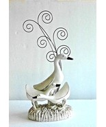 """Goose Family Sculpture with Picture / Card Holder Display 14"""" Unique !! - $29.99"""