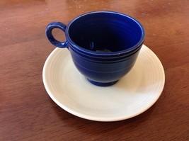 *Vintage Fiestaware Cobalt Blue Tea Cup White Saucer - $9.44